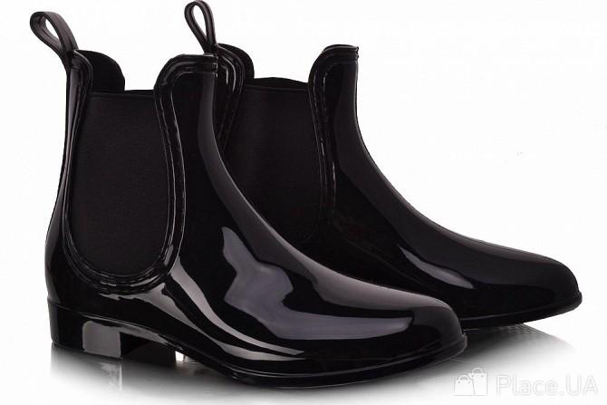 Чорні жіночі гумові черевики. Короткі та глянцеві! Львів - зображення 1 eb056b7372c5d