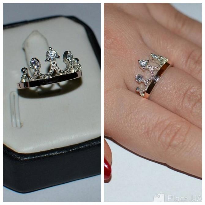 Серебряное кольцо корона с золотом 013к Київ - зображення 1 f30b7796b582c