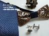 Набор запонки деревянная бабочка галстук платок брошь в коробочке синий платок свадебные запонки доставка из г.Киев