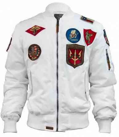 Бомбер Top Gun MA-1 Nylon Bomber Jacket with Patches (белый) доставка из г.Винница