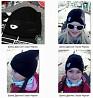 Черная с глазиками демисезонная шапка для девочки, до 8 лет доставка из г.Киев